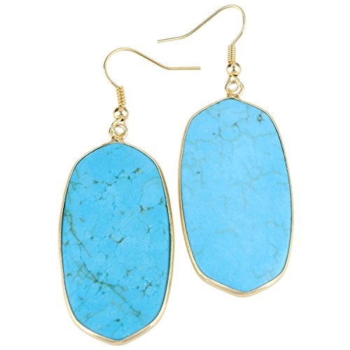 rockcloud Blue Howlit Turquoise Stone Dangle Hook Earrings Oval Gold Plated