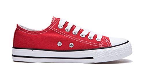 Honeystore Mujeres Low-top Canvas Zapatos Zapatillas Planas Lace-red-01