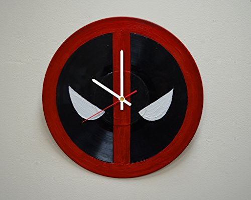[Handmade Superhero Logo HANDPAINTED Vinyl Record Wall Clock - Get Unique Living Room Wall Decor - Gift Ideas For Adults and Youth - Comics Unique Fan Art] (Marvel Cable Costume)