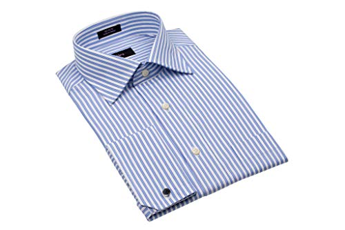 - Alara Fancy Blue Stripe Medium Spread Collar French Cuff Dress Shirt with Pocket Egyptian Cotton (Large3)