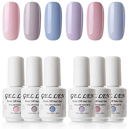 Gellen New Soak Off Gel Nail Polish Pale Cream Colors Set - Fashion Selected 6 Colors 8ml Home Gel Manicure Kit