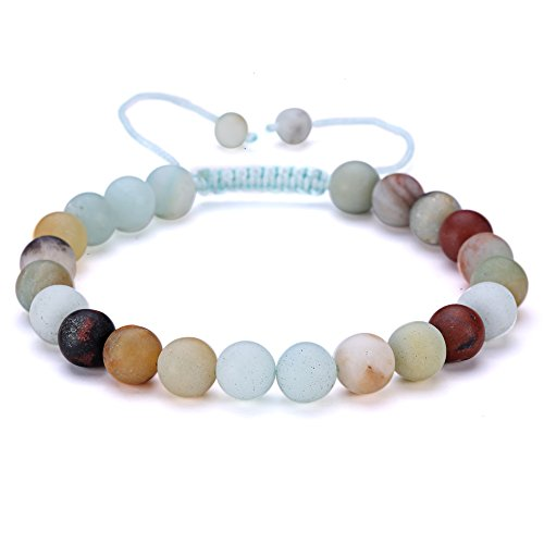 BRCbeads Gemstone Bracelets Matte Amazonite Natural Gemstones Birthstone Healing Power Crystal Beads Handmade 8mm Stretch Macrame Adjustable Loose Bea…