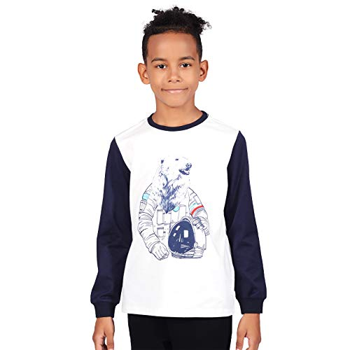 TaiMoon Gray Halloween Long Sleeve Shirts for 4-12 Years Old Boys and Girls (XS, White and Navy Blue)