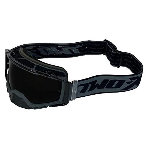 TWO-X ATOM Crossbrille grey – OUTBREAK getönt schwarz MX Brille Nasenschutz Motocross Enduro Spiegelglas Motorradbrille…