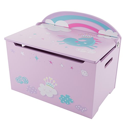 Hey! Play! Toy Box-Storage Bench Seat Kids-Organization Chest-Toys, Stuffed Animals, Clothes, Blankets-Bedroom, Playroom Furniture (Purple/Pink) by Hey! Play!