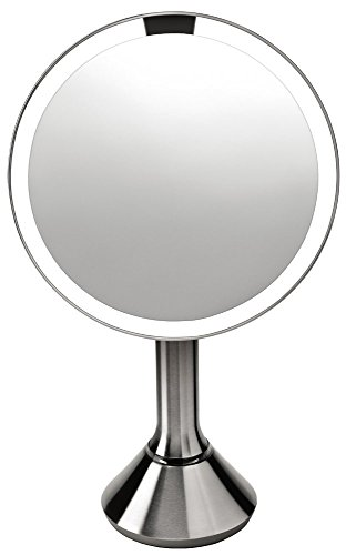 simplehuman Sensor Lighted Makeup Vanity Mirror 8' Round, 5x Magnification, Stainless Steel, Rechargeable And Cordless
