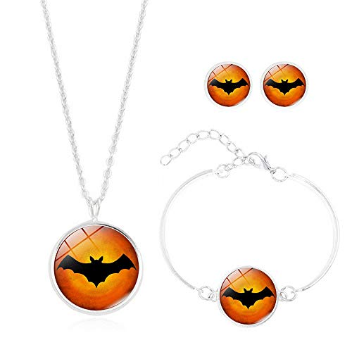 BOLUOYI Necklaces for Women Silver, 3PCS/Set Halloween Collection Time Gem Cabochon Necklace with Stud Bracelet ,Multicolor 06 ()
