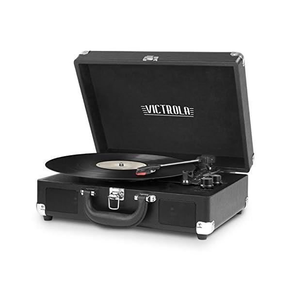 Victrola Vintage 3-Speed Bluetooth Suitcase Turntable with Speakers, Black 3