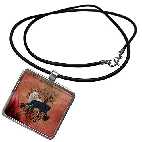 Necklace Photo Awesome - 3dRose Heike Köhnen Design Animal - Awesome black and white wolf - Necklace With Rectangle Pendant (ncl_289153_1)