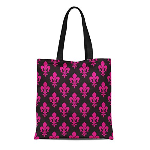 Semtomn Cotton Canvas Tote Bag Black and Magenta Pink Vintage Classical French Royal Ornate Reusable Shoulder Grocery Shopping Bags Handbag Printed