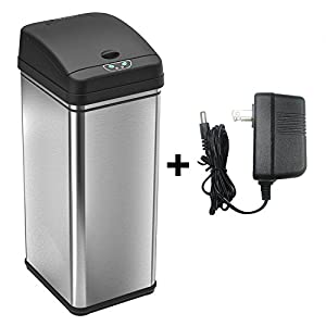 batteryfree automatic trash can 13 gallon stainless steel sensor kitchen trash can includes deodorizer and ac power adapter