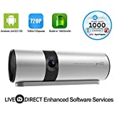 Pocket Projector, LiveTV.Direct Support JmGO P2 Android Smart Projector 720p HD DLP 3D Home Theater Projector 15600mAh Built-in Batteries HiFi Stereo