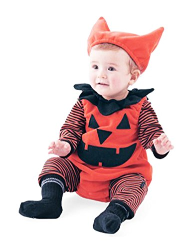 Baby Halloween Set Pumpkin Costumes 3pcs Hat & Jumpsuit & Tunic 0-18 Month (Gypsy Costume Ideas For Halloween)