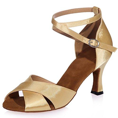 Elobaby Zapatos De Baile De Mujer Salsa Hebilla Latin Jazz Cross Strap Toe Plataforma / 7.5cm Heel / A8349 Gold