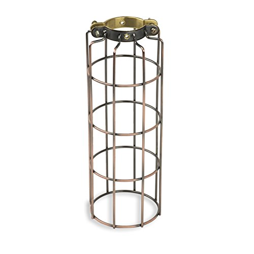 Industrial Design Elongated Metal Wire Cage Lamp Guard by Artifact Design for DIY Wall Lighting Oil Rubbed Finish - Metal Plastic Cage