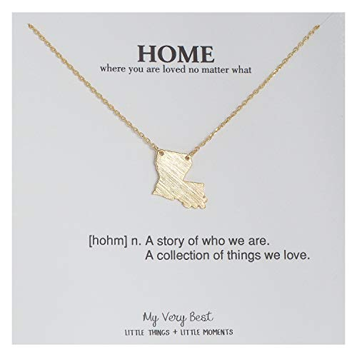 - My Very Best State Map Necklace (Louisiana_ Gold Plated Brass)
