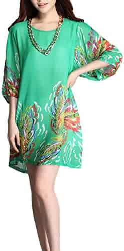 dec4e8feffbb COMVIP Women's Floral Printed Casual Loose Chiffon Pullover Summer Dress