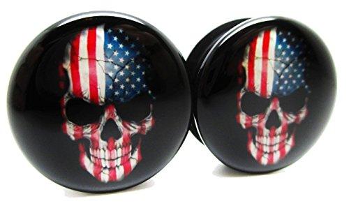 American Skull Ear Plugs - Acrylic - Screw on - NEWPair (...