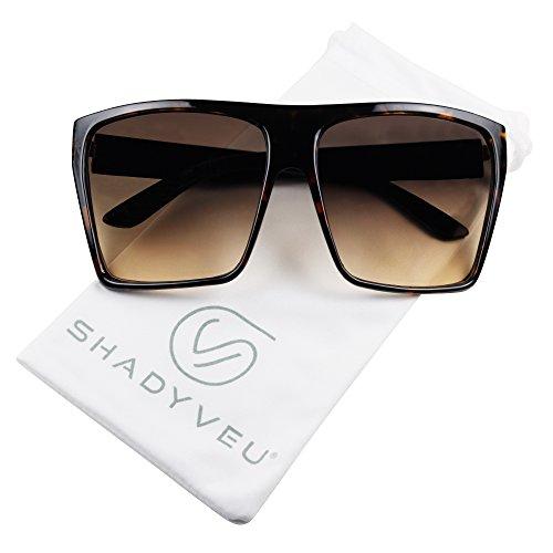 ShadyVEU - Big XL Large Square Trapezoid Shape Oversized Fashion Sunglasses (Tortoise, Brown Lens)