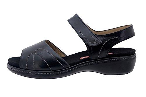 Calzado mujer confort de piel Piesanto 8801 sandalia velcro plantilla extraíble cómodo ancho Negro