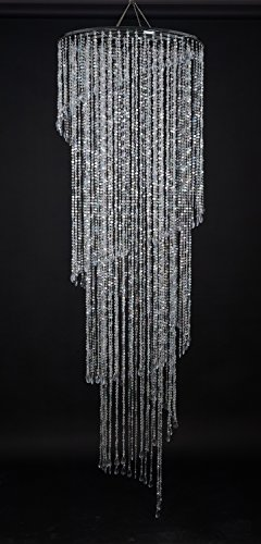 FlavorThings Extra Large Faux Crystal Iridescent Spiral Chandelier,Swirling Wedding Chandelier,4 Tiers - 6 Feet Long 2 Feet Wide