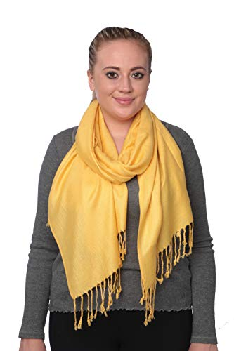 - C-More Elegant Pashmina Silk Blend Soft Wrap Scarf Shawl For Women -30+ Solid Colors (Yellow)