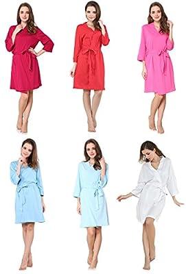 D&P Women's Sleepwear Robes Cotton Knit Bathrobe Lightweight Short Robe