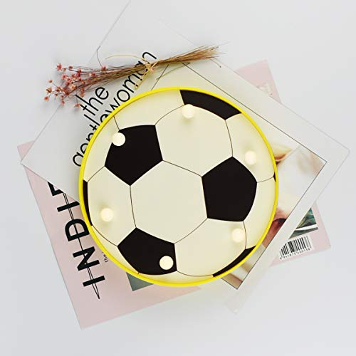Soccer Decor Light, LED Night Light Marquee Sign Battery Operated Led Table Lamp for Children Kids Bedroom Decor by Worpee
