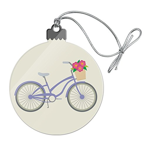 Graphics and More Purple Bicycle Bike with Basket of Flowers Acrylic Christmas Tree Holiday Ornament (Bicycle Ornament Holiday)