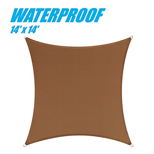 UPC 794834287149, ColourTree 100% BLOCKAGE Waterproof 14' x 14' Sun Shade Sail Canopy Square Coffee Brown- Commercial Standard Heavy Duty - 220 GSM - 4 Years Warranty (1)