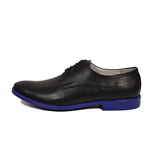 Modello Ugo - Handgemachtes Italienisch Leder Herren Navy blau Oxfords Abendschuhe - Rindsleder Weiches Leder - Schnüren