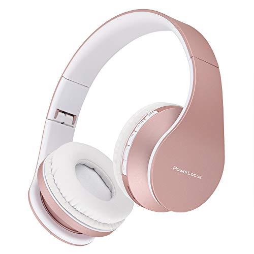 Bluetooth Kopfhörer, PowerLocus Over Ear Wireless Bluetooth Kopfhörer Faltbar Kabellose On Ear Ohrhörer Headset Aux-Unterstützung mit Mikrofon Freiscprechfunktion für iPhone, Android, PC (Rose Gold)