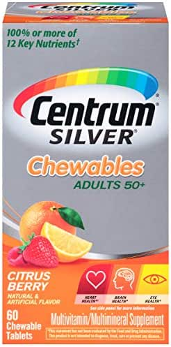 Centrum Silver Adult (60 Count, Pakc of 2) Multivitamin / Multimineral Supplement Chewable Tablet, Vitamin D3, Age 50+