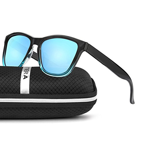 ELITERA Women Sunglasses Famous Lady Designer Gradient Colors Polarized Glasses UV400 E0717 (Black&Blue, - Designer Polarized Sunglasses