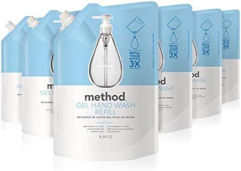 Method Gel Hand Soap Refill, Sweet Water, 34 Ounce (Pack 6)
