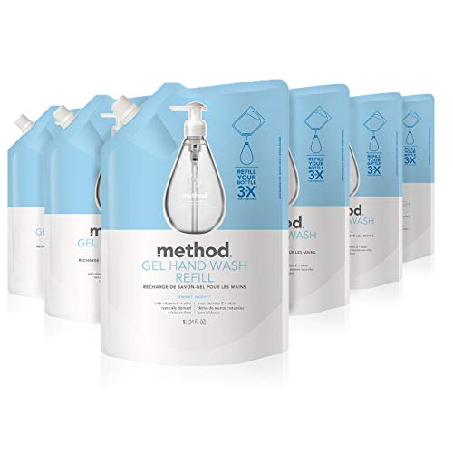 Detergent Refill - Method Gel Hand Soap Refill, Sweet Water, 34 Ounce (Pack 6)