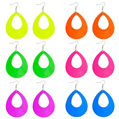 6 Pairs Bright-colored Big Teardrop Earrings set Classic Metal Earrings Fish Hook Earrings Dangle Ear Drop for Women Girls Daily Wear/Party ()