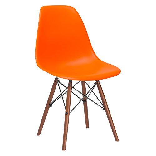 Poly and Bark Vortex Side Chair Walnut Legs, Orange