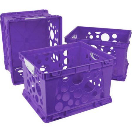 Indoor Large File Crate Storage with Handles, in Purple Color ( 3 PACK ) by Storex (Image #2)