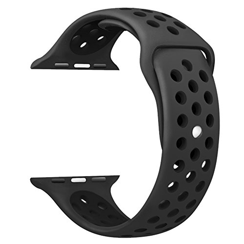 OULUOQI Apple Watch Band 42mm, Soft Silicone Replacement Band for Apple Watch Series 3, Series 2, Series 1, Sport , Edition, M/L Size ( Black/Black )