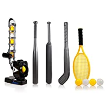 Power Pro Kids 4 in 1 Pitching Machine with Adjustable Angles - Training Pitcher for 4 Games (Baseball, Cricket, Tennis, Hockey)