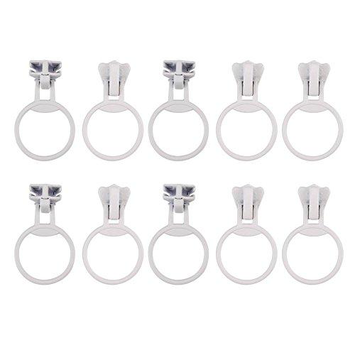 Hilitand 20pcs Metal Alloy Universal Zipper Sliders Size Set Ring Pull Head #5 Circle Ring Zip Fastener Repair Replacement Kit (White)