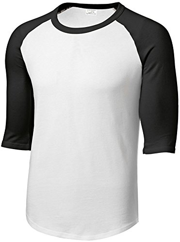 Joe's USA tm Youth 3/4 Sleeve 100% Cotton Baseball Tee Shirt,S White/Black