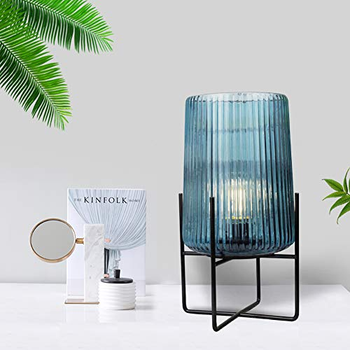 MJ PREMIER Table Lamp Bedside Desk Lamp Tealight Night Light with Metal Frame Base Cylinder with LED Bulb Cordless Battery Operated for Table Centerpiece Indoor Outdoor Home Bedroom Living Room Decor