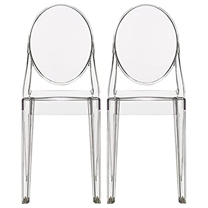 2xhome Set Of Two (2)   Clear   Victoria Style Ghost Side Chairs Dining