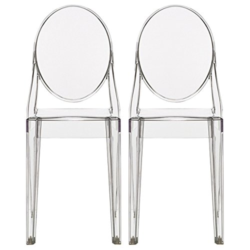 2xhome - Set of Two (2) - Clear - Victoria Style Ghost Side Chairs Dining Room Chairs - Victorian Accent Seat - Lounge No Arm Arms Armless Less Chairs Seats