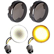 NTHREEAUTO Smoked Bullet Front Turn Signals LED Lights Panel Compatible with Harley Dyna Street Glide Road King, 2nd Gen SMD