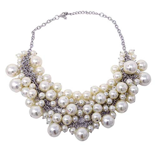 Sunbu Simulated Pearl Necklace Cluster Choker Beads Chain For Women