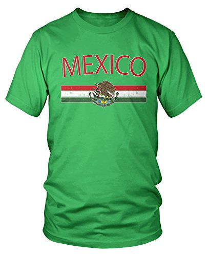 Amdesco Men's Mexican Flag and Coat of Arms, Mexico T-Shirt, Kelly Green -