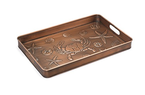 Good Directions Seashore Multi-Purpose Serving Tray, Boot Tray / Shoe Tray - Copper Finish (22 inch) with Handles - Food, Drinks, Plants, Pet Bowl, Garage, Entryway, Entrance, Foyer